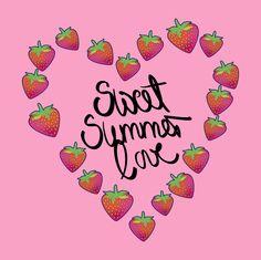 #summer #love #strawberries #pattern #patterndesign #pink #tasty #food #foodie #simple #vector #colorful #playful #heart