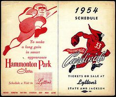 1954 Chicago Cardinals Hammonton Park Clothes Unfolded Football Pocket Schedule | eBay