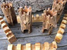 Wooden castle made with branches Wooden Castle, Making Wooden Toys, Whittling Wood, Art Carved, Waldorf Toys, Montessori Toys, Nature Crafts, Wood Toys, Diy Toys