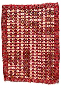 Beshir Main Carpet Turkmenistan first half 19th century 8ft. x 5ft. 9in. Condition: good condition with horizontal wear and tear (holes) from horizontal wrinkles and folds caused by uneven loom tension Provenance: Bokhara Age: First Half of the 19th Century rows 12 pointed stars (Seljuk star with square added)