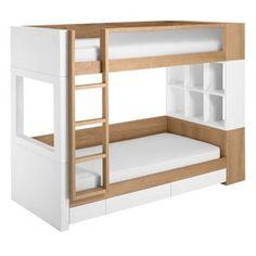 duet bunk bed w/drawers - natural catalpa - genius jones | design for a new generation™ | bugaboo, quinny, nurseryworks, stokke, duc duc, skip hop, baby strollers, modern kids furniture, toys, clothing