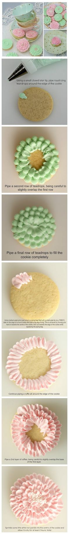 cookglee recipe pictures: Springtime Cookies (cake frosting tips piping bag) Fancy Cookies, Iced Cookies, Cute Cookies, Cookies Et Biscuits, Cupcake Cookies, Sugar Cookies, Icing Tips, Frosting Tips, Frosting Recipes