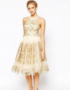 Image 1 ofChi Chi London Premium Metallic Lace Midi Prom Dress with High Neck