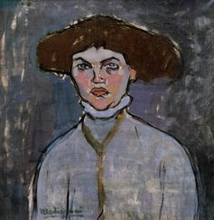 FCBTC / 1908 - Head of a Young Woman by Amedeo Modigliani, oil on canvas