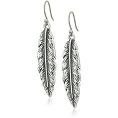 Lucky Brand Silver Feather Dangle Earrings ($29) ❤ liked on Polyvore featuring jewelry, earrings, silver jewellery, silver jewelry, silver dangle earrings, silver earrings and lucky brand jewellery