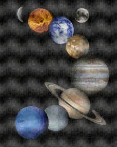 Solar System Counted Cross Stitch KIT by TheArtofCrossStitch, $26.50 Gabrial would love this he loves space