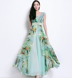 Bohemian Green Floral Print Dress Pleated Full Skirt Wrap A-line Dress Boho Chic Beach Wedding Bridesmaid Prom Evening Holiday Fashion