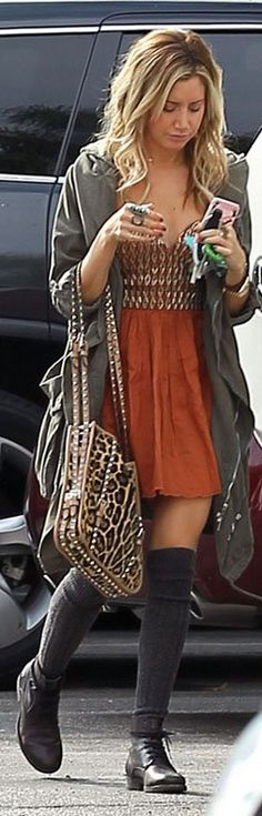 Who made  Ashley Tisdale's leopard studded bag and beaded dress that she wore in Los Angeles on November 8, 2012?