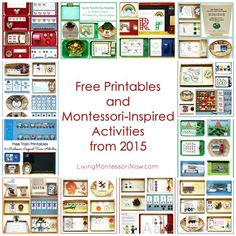 12 months of free printables and Montessori-inspired activities from 2015 shared at Living Montessori Now!