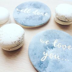 / TREATS / watercolour sugar cookies with personalised hand painted messages in edible rose gold plus our signature Italian macarons! Total heaven!