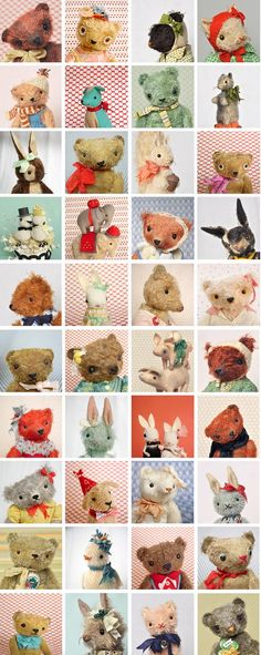 So many cute critters! (by Jennifer Murphy) Jennifer Murphy, Fabric Animals, Cute Stuffed Animals, Cute Plush, Cute Little Animals, Bear Toy, Cute Creatures, Soft Dolls, Doll Crafts