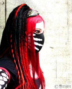 red cyber-goth girl portrait. model: Mistabys.