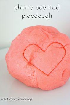 cherry scented homemade playdough - Wildflower Ramblings