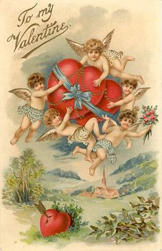 Super-cute vintage Victorian-era Valentine with cupids flying with hearts. One of more than 100 victorian-era available from piddix for licensing. Valentine Cupid, Valentine Images, Vintage Valentine Cards, My Funny Valentine, Vintage Greeting Cards, Vintage Holiday, Valentine Crafts, Valentine Day Cards, Vintage Postcards