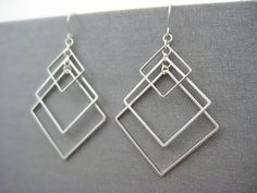 Square Earrings -  modern minimalist art deco earrings, silver geometric architecture jewelry, math teacher gifts - Tiered Square