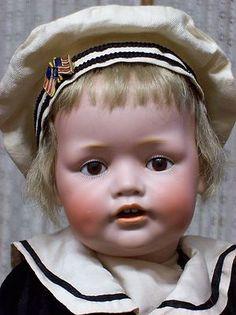Exceedingingly RARE Kestner 239 Cabinet Size Boy in Velvet Victorian Dolls, Antique Dolls, Vintage Dolls, Teddy Bear Toys, Teddy Bears, Costume Marin, German Boys, Sailor Outfits, Half Dolls