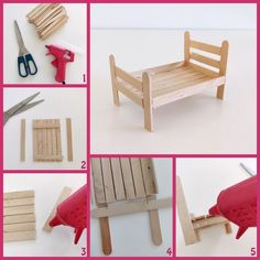 This video by Curious Crafter shows how to create 8 cute miniature dollhouse furniture pieces using popsicle sticks Popsicle Stick Houses, Popsicle Stick Crafts, Craft Stick Crafts, Fun Crafts, Wood Crafts, Craft Ideas, Barbie House Furniture, Doll Furniture, Bedroom Furniture