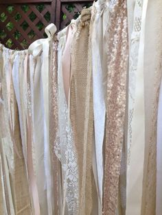 Burlap Sequins & Lace Backdrop Tattered Valance Long Curtain Champagne 6' x 6