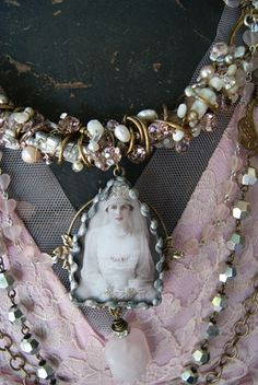 so lovely! #assemblage necklace, #vintage inspired, # altered jewelry