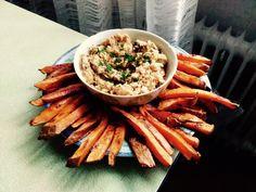 Cizrnový hummus s pečenými batáty Hummus, Green Beans, Healthy Snacks, Vegan, Vegetables, Ethnic Recipes, Food, Diet, Bulgur