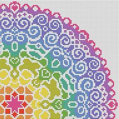 KIT Spectral Mandala Complete Cross Stitch Kit - Large Scale Colourful and Modern Design on Aida - Genuine DMC Threads Included Cross Stitch Needles, Cross Stitch Kits, Cross Stitch Charts, Cross Stitch Designs, Cross Stitch Patterns, Cross Stitching, Cross Stitch Embroidery, Embroidery Patterns, Mandala Design