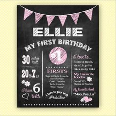 Custom Chalkboard Birthday Poster - Bunting - Digital File CB0001 (multiple sizes available)