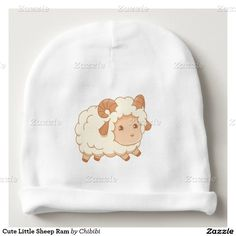 Cute and fluffy little sheep ram baby beanie would look adorable on any infant. Add any baby name or birthday for a unique personalized gift. #chibi #kawaii
