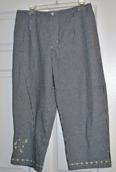 AMI 97%cotton 3%spandex Size Large Front Zip Closure Black & White Check With Embroidery On Pant Leg Capris $18