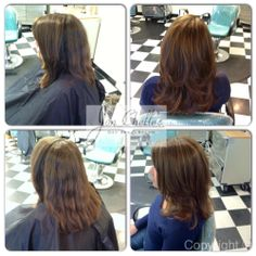 Highlights on naturally warm brown hair and a layered haircut on medium length hair by Lauren McDade. #Aveda #Avedacolor #jonchelles #mediumlengthhair #hightlights #haircut