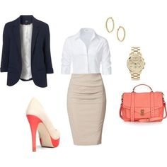Perfect business attire if I ever need it. Love the touch of peach on the shoes.