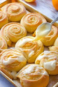 Best Homemade Orange Rolls Orange Cinnamon Rolls, Orange Sweet Rolls, Brunch Recipes, Breakfast Recipes, Dessert Recipes, Breakfast Time, Vegan Desserts, Drink Recipes, Breakfast Ideas