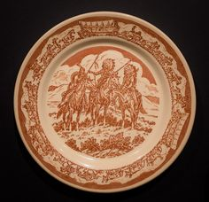 """Pioneer Trails designed by Till Goodan for Wallace China, circa 1939-1950s. Indian Scouts Luncheon Plate 9"""".  Offered by Track 16. http://www.track16.com #restaurantware #restaurantchina"""