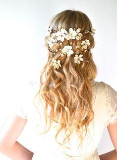 Bridal crown flower head wreath wedding hair by hazelfaire on Etsy