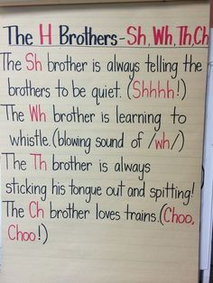 Digraph poem. The H Brothers | Education   Ideas | Teaching ... Education h education words