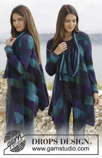 """Knitted DROPS jacket with domino squares in """"Delight"""". Size: S - XXXL. ~ DROPS Design"""