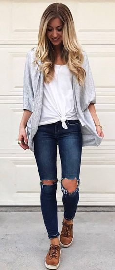 casual style obsession white tee   cardi   ripped jeans   brown sneakers