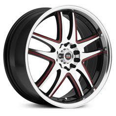 Spec-1 SP-15 wheels, black machined with red window rims.