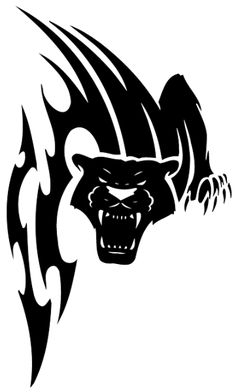 Vicious tribal panther sreaming tattoo design