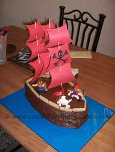 Pirate Ship Cake - two sheet cakes, cut them into the shape of a ship. Ice it with chocolate icing. Put graham cracker sticks around the edges of the cake.  Make the sail by printing off a picture of a skull and crossbones and glue it onto a card stock. Use wood skewers to put the sails on and stuck the skewers in the cake. You can put the candles on the sides of these sort of cakes so as not to catch the sails on fire.