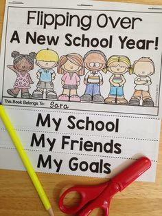 Flipping Over A New School Year! This No-Prep flip book is a great activity for the first week back to school. Children write and draw to record information about their school, teacher, friends, and goals. #backtoschool $