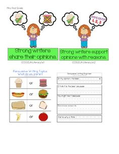 """Persuasive Writing Posters and Graphic Organizers Includes two posters for mini lessons and/or student referenceL """"Strong writers share their opinions"""" """"Strong writers support their opinions with reasons""""  Includes five tiered graphic organizers.  Includes two pages of topic choices."""