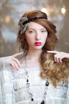 Black Great Gatsby Headband, 1920's Flapper Headpiece, Vintage Inspired Wedding Hair Accessories, 1930s, Black Beaded Feather Headband