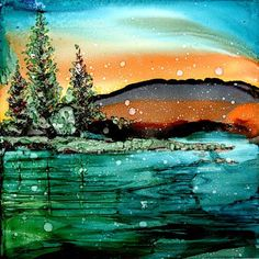Trivet- Decoupage print of alcohol ink painting on a 6x6 ceramic tiles-Adirondack Lake by LindaFlynnStudio