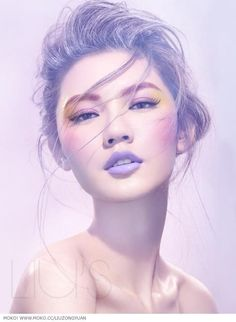 colorful makeup with lavender lips