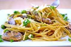 Garlic Butter Spaghetti With Roasted Mushrooms and Peas