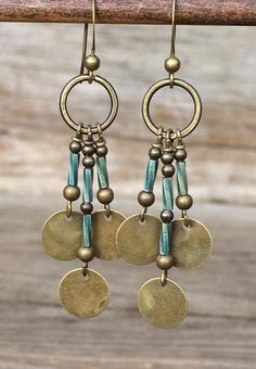 Boho Chandelier Brass Earrings with Blue Glass Accents