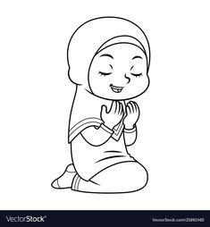 Moslem girl hajj praying bw vector image on VectorStock Simple Line Drawings, Easy Drawings For Kids, Drawing For Kids, Cartoon Sketches, Cartoon Styles, Bird Drawings, Cute Drawings, Sunflower Coloring Pages, Decoraciones Ramadan