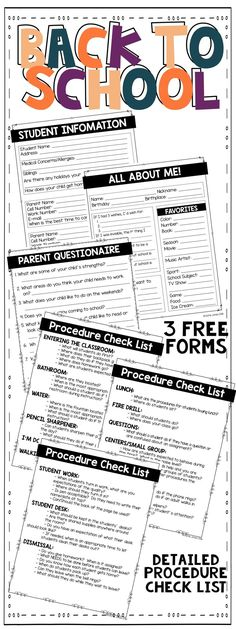 Back to School {Forms and Procedure Check List} Evan Moss Evan Moss FREE! 3 forms to use the first week … First Week Of School Ideas, Back To School Night, Beginning Of The School Year, I School, School Stuff, Middle School, School 2017, Student Questionnaire, Teacher Forms