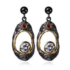 vintage long drop earring black & gold plated brass lead setting AAA CZ wedding party jewelry crystal earring for women