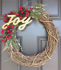 Rustic Christmas wreath with gold joy lettering by SimpleWreath